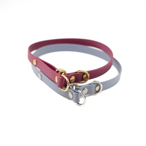 """burgundy and grey 5/8"""" classic limited slip collar in solid brass and stainless steel"""