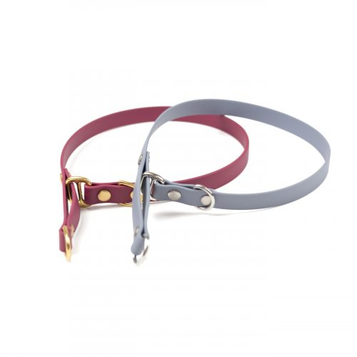 "burgundy and grey 5/8"" classic limited slip collar in solid brass and stainless steel"