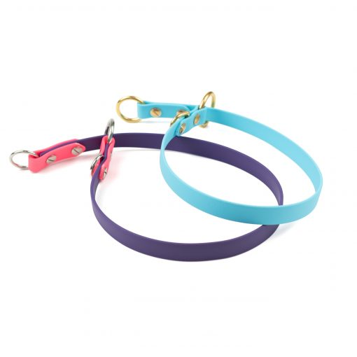 Sky blue and purple and pink slip collar