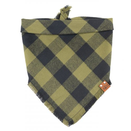 Olive green Forest Frayed Dog Bandana