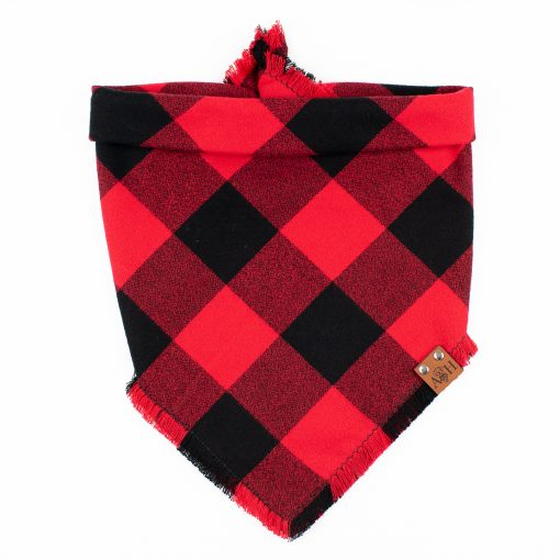Ruby Frayed Dog Bandana in Buffalo squares of red and black