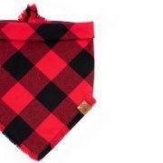 Ruby Frayed Dog Bandana in Buffalo squares of red and black