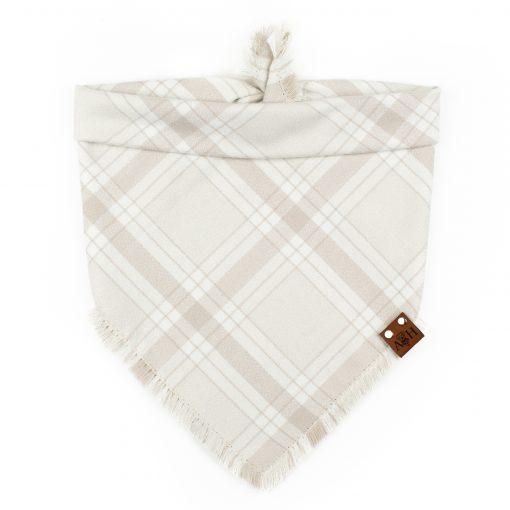Cream and tawny frayed dog bandana