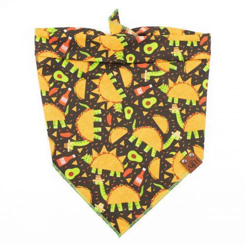 Dog bandana with dinosaurs dressed as tacos