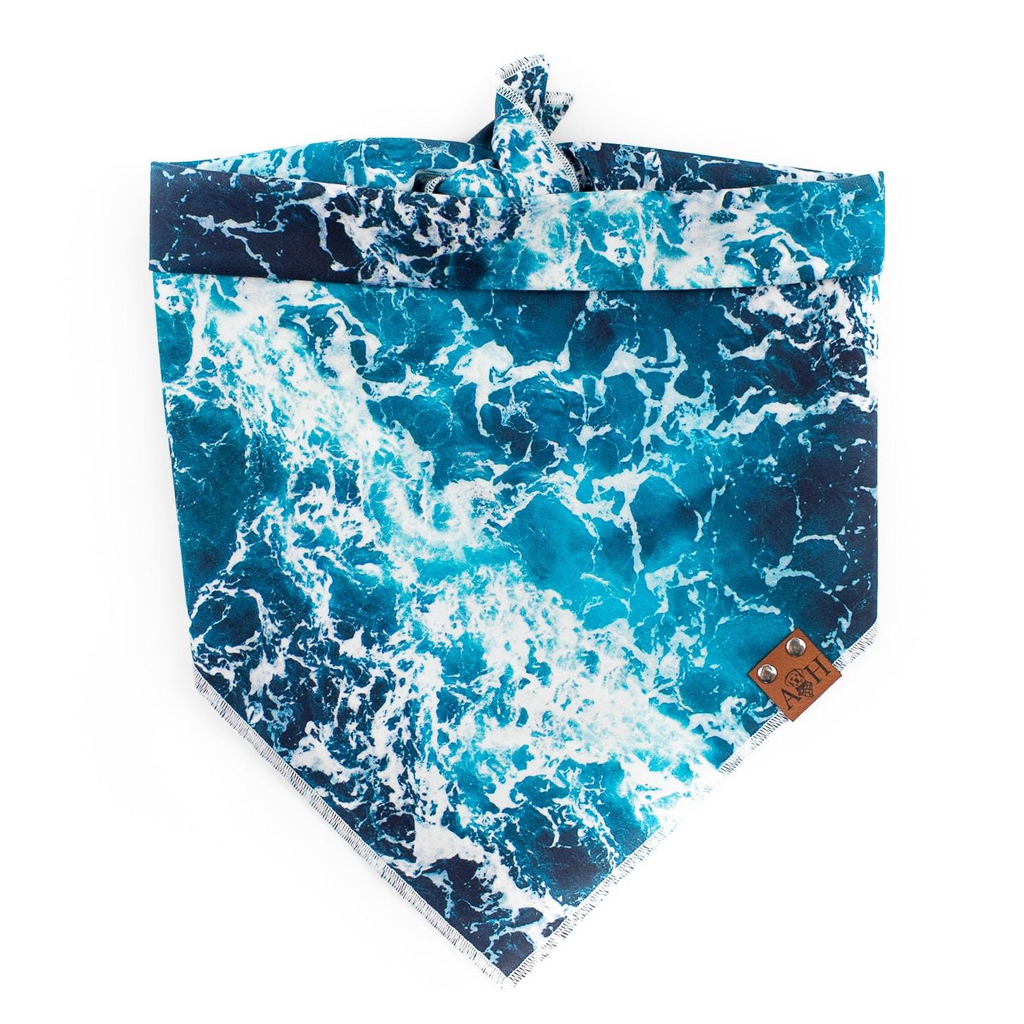 Blue, teal and white ocean Oceania Dog Bandana