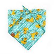 simba teal and yellow dog bandana