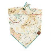 Tan, teal and pink map wanderlust dog bandana