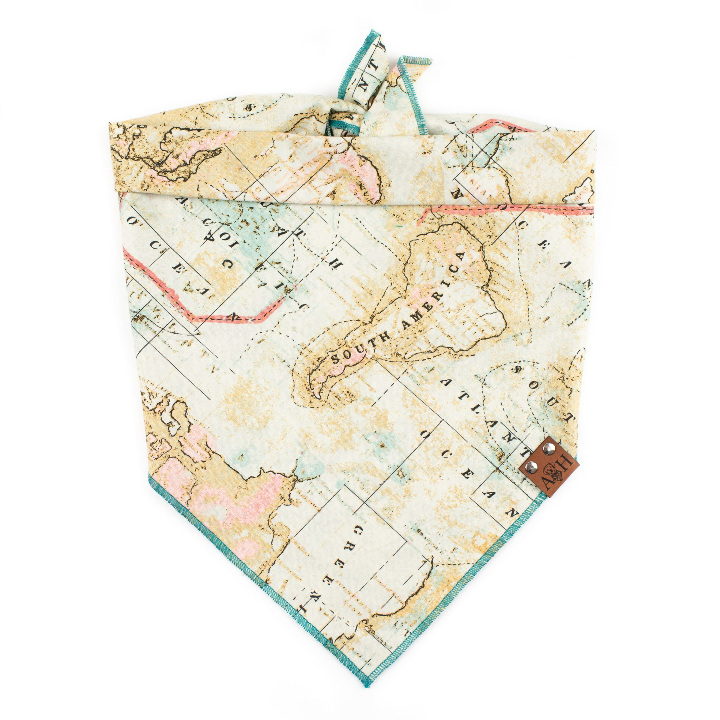 Tan, teal and pink map wanderlust dog bandana