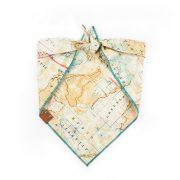 Tan, teal and pink map dog bandana