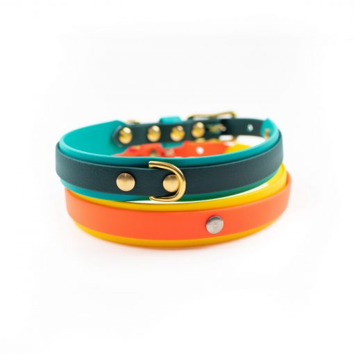 Two multicolor biothane double layer dog collars