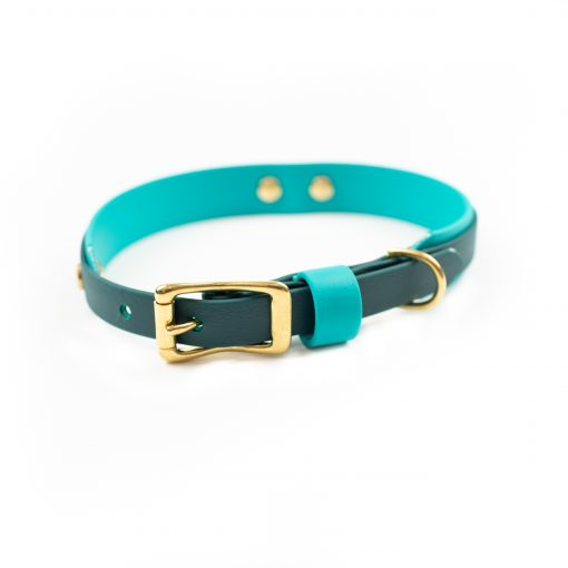 Multilayer biothane dog collar in teal and green