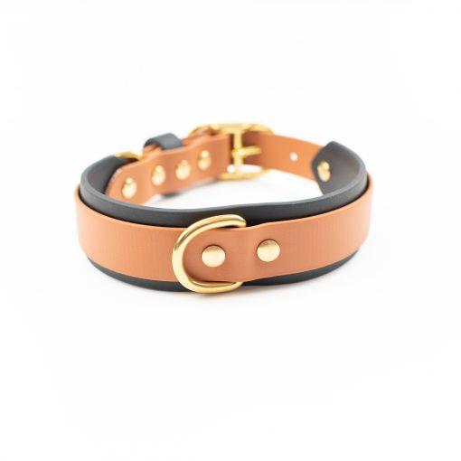 "Caramel and Black 1.5"" Layered Adventure Dog Collar"