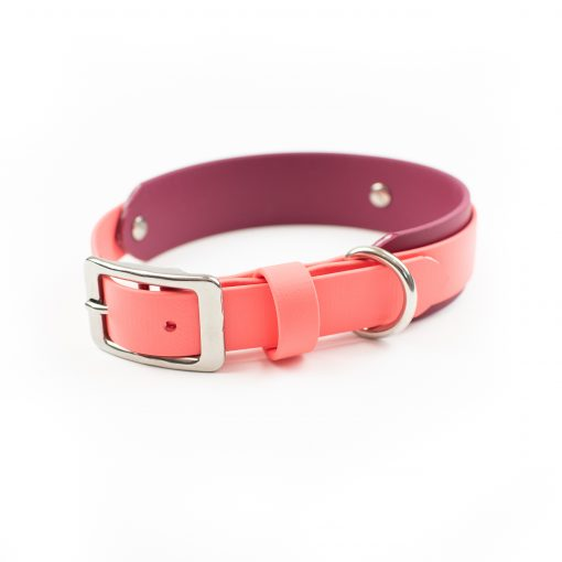"""Coral and Burgundy 1.5"""" Layered Adventure Dog Collar"""