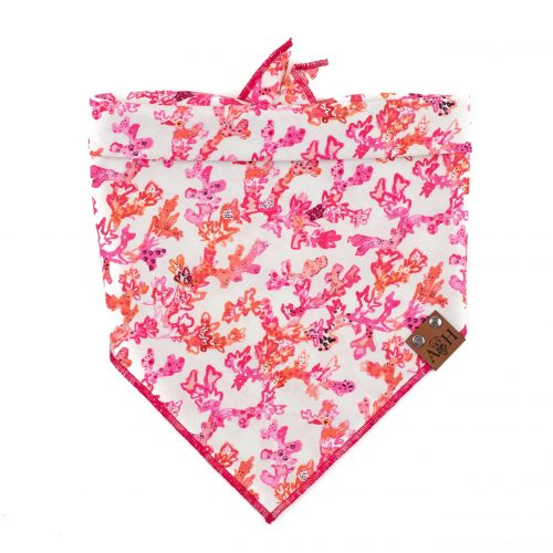 Coral Reef Dog Bandana with a pink, red and orange coral reef pattern