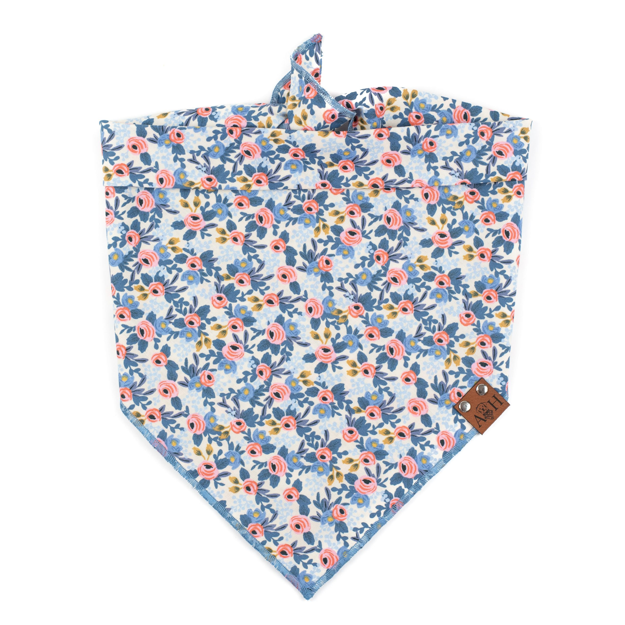Fluer Dog Bandana with floral pattern in lavender pink and blue tones