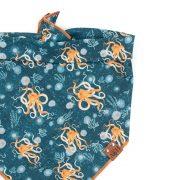 Octopus dog bandana with orange octopus on a blue ocean background