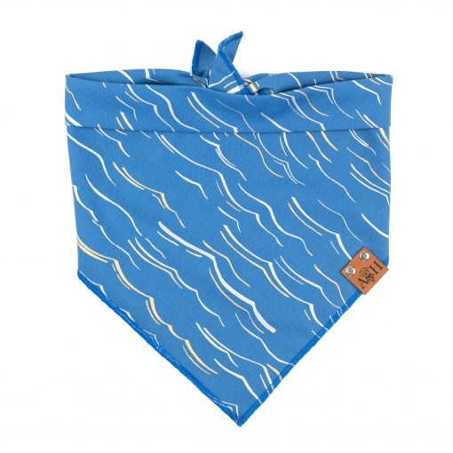 Ripple Dog Bandana with metallic silver and gold waves and blue background