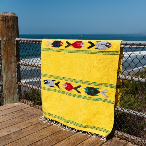 """Yellow mexican blanket """"under the sea blanket"""" with colored fish"""